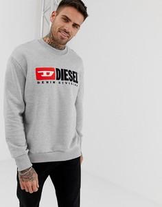 Серый свитшот с круглым вырезом и логотипом Diesel S- Division - Серый