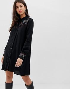 Платье-рубашка в стиле вестерн с вышивкой Vila - Черный