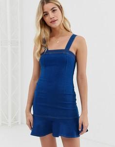 Джинсовое платье мини с оборкой Parisian - Синий