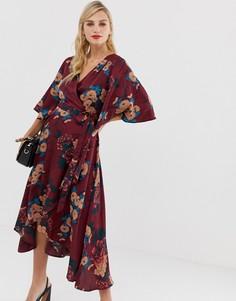 Платье миди с поясом и цветочным принтом Liquorish - Мульти