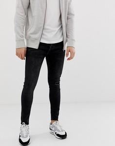Черные джинсы скинни с рваной отделкой на коленях Bershka Join Life - Черный