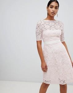 Приталенное платье с рукавами 3/4 Vesper - Розовый