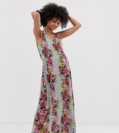 Пляжное платье макси со сборками на талии и цветочным принтом ASOS DESIGN Maternity - Мульти