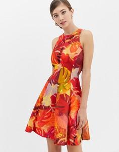 Красное платье-трапеция с цветочным принтом Closet - Красный