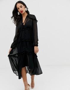 Мягкое платье макси на пуговицах ASOS DESIGN - Черный