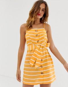 Оранжевое пляжное платье в полоску на пуговицах River Island - Мульти