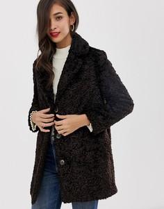 Пальто из искусственного меха Helene Berman - Темно-синий