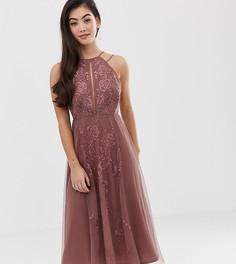 Платье миди с кружевными вставками и цветочной вышивкой ASOS DESIGN - Мульти