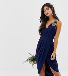 Эксклюзивное темно-синее платье миди с запахом для подружки невесты TFNC Petite - Темно-синий
