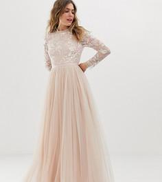 Розовое платье макси из тюля с отделкой и длинными рукавами Needle & Thread - Розовый