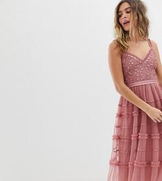 Платье миди на бретельках с вышивкой Needle & Thread - Розовый