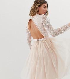 Платье миди с длинными рукавами и юбкой из тюля Needle & Thread - Розовый