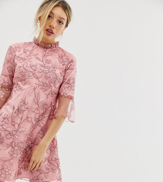 Розовое платье мини А-силуэта с вышивкой Chi Chi London Petite - Розовый