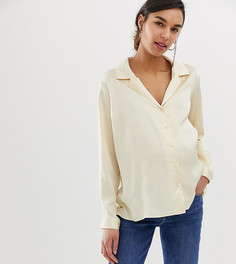 Свободная атласная рубашка с длинными рукавами ASOS DESIGN Maternity - Кремовый