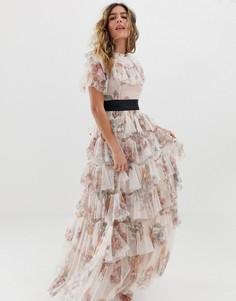 Платье макси с цветочным принтом и контрастной талией Needle & Thread - Розовый