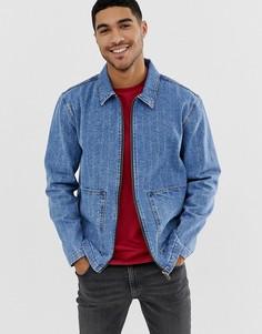 Джинсовая куртка на молнии с рваной отделкой ASOS DESIGN - Синий