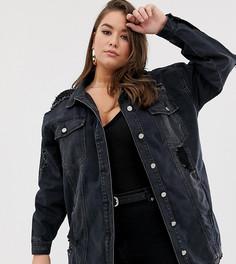 Черная джинсовая oversize-куртка с рваной отделкой Missguided Plus - Черный