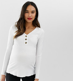 Топ в рубчик с V-образным вырезом ASOS DESIGN Maternity - Белый
