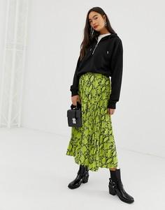 Плиссированная юбка миди с неоновым змеиным принтом New Look - Зеленый