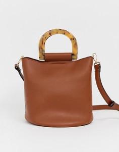 Коричневая сумка-мешок с ручками с черепаховым узором Pimkie - Рыжий
