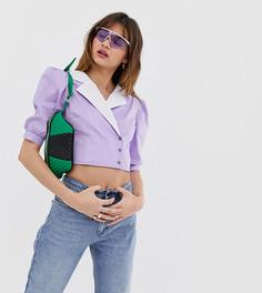 Топ с отделкой на рукавах, запахом и пуговицами Reclaimed Vintage inspired - Фиолетовый