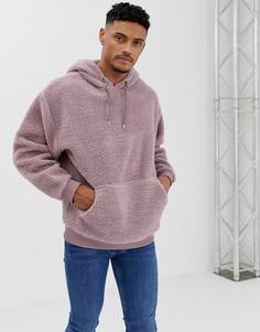 Oversize-худи фиолетового цвета с искусственным мехом ASOS DESIGN - Желтый