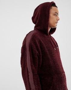 Oversize-худи из искусственного меха бордового цвета с полосками по бокам ASOS DESIGN - Красный