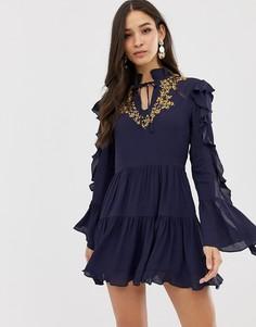Кружевное платье с оборками Millie Mackintosh Alba - Темно-синий
