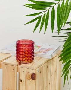 Красная свеча в гравированном стакане Candlelight - Красный