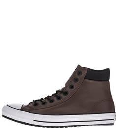 Высокие кожаные кеды на шнуровке Converse