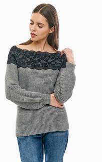 Джемпер с содержанием шерсти и кружевной нашивкой Vero Moda