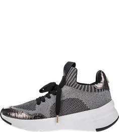 Серебристые текстильные кроссовки Dkny
