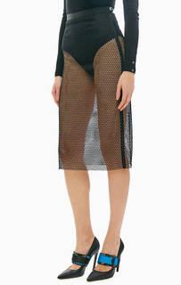 Черная сетчатая юбка средней длины Patrizia Pepe