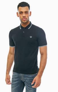 Черная хлопковая футболка поло Fred Perry