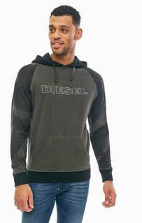 Толстовка цвета хаки с карманом-кенгуру Diesel