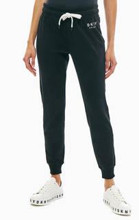 Хлопковые брюки джоггеры с вышивкой Dkny