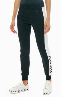 Хлопковые брюки джоггеры с принтом Dkny