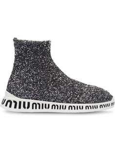 Miu Miu высокие кроссовки с пайетками