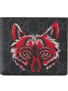Gucci кошелек GG Supreme с изображением волка