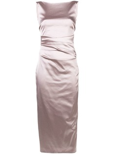 Talbot Runhof атласное платье с драпировкой