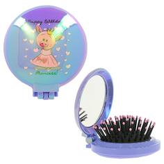 Расческа для волос MISS PINKY FUNNY PIG с зеркалом фиолетовая