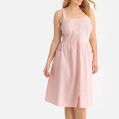 Платье в полоску на тонких бретелях, расклешенное, средней длины Castaluna