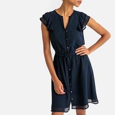 Платье расклешенное с короткими рукавами с воланами La Redoute Collections