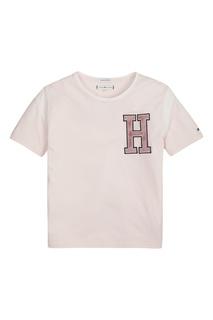 5ec1220f9179 Розовая футболка с фактурной аппликацией Tommy Hilfiger Kids