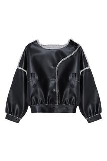 Черная куртка с контрастной отделкой Ruban Kids
