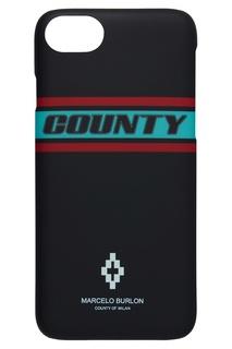 Чехол для iPhone 8 с полосами и логотипом Marcelo Burlon County Of Milan
