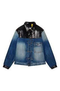 Джинсовая куртка с нейлоновыми вставками Moncler