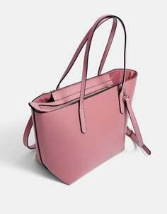 Stradivarius Базовая сумка-шопер в формате мини ЖЕНСКАЯ КОЛЛЕКЦИЯ Пастельно-розовый 103