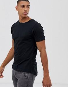 Длинная обтягивающая футболка с логотипом и закругленным краем Another Influence - Черный