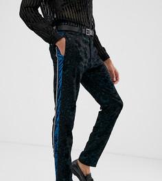 Сине-зеленые бархатные узкие брюки под смокинг с выжженным узором ASOS EDITION Tall - Синий